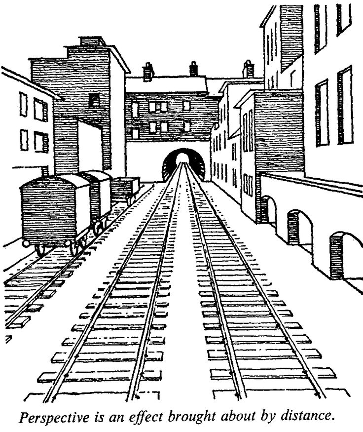 This is a 1 point perspective drawing of a train station, this is a very well drawn picture