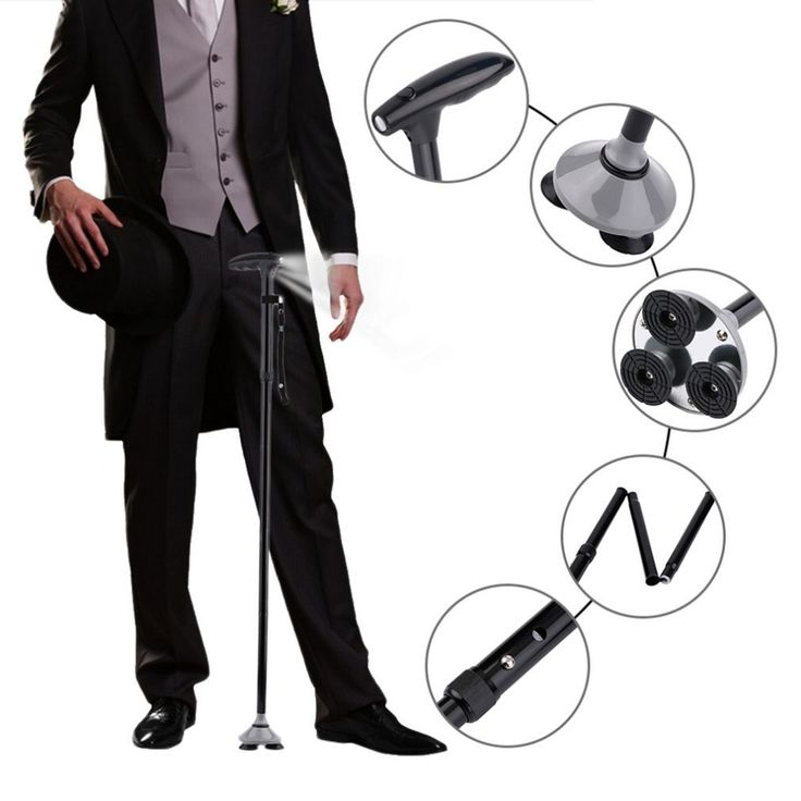 check price multifunction magic cane folding walking stick quad fold ultralight stick with led lights #hiking #tips