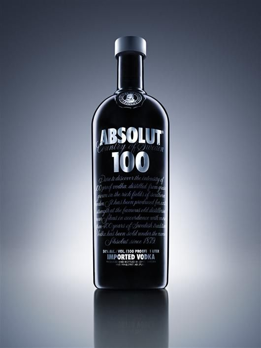 """Absolut 100 is a higher proof vodka in an opaque black, chrome silver and grey bottle, which has been designed to appeal to a global male audience."""
