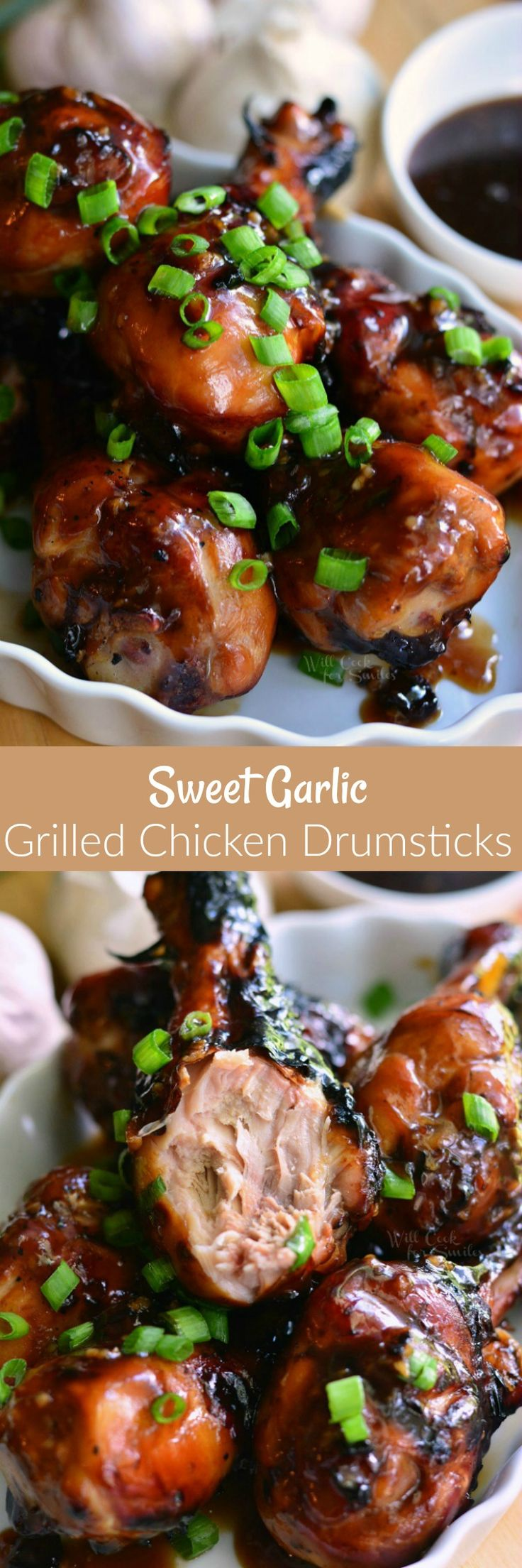 Sweet Garlic Grilled Chicken Drumsticks. Simple dinner, easily prepped ahead of time. Unbelievably delicious grilled chicken drumsticks marinated and then coated in a homemade sweet garlic sauce.