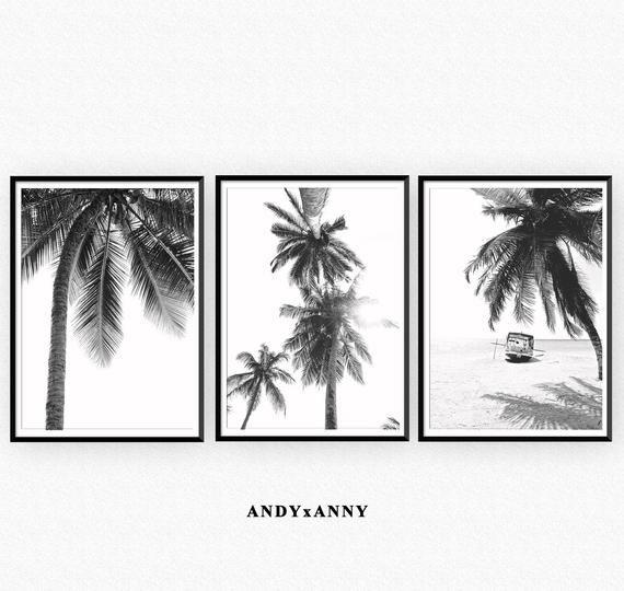 Palm Tree Prints Set Of 3 Prints Digital Download Wall Art Etsy Etsy Wall Art Palm Tree Print Tropical Wall Art