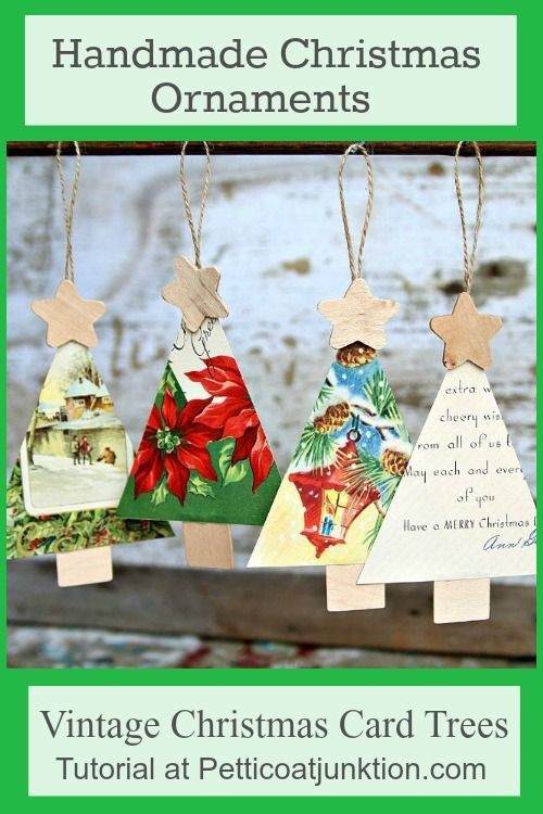 How To Make Christmas Ornaments From Vintage Cards. This is the perfect craft for kids and adults! #decoratethetree #christmasornaments #handbadechristmas #vintage