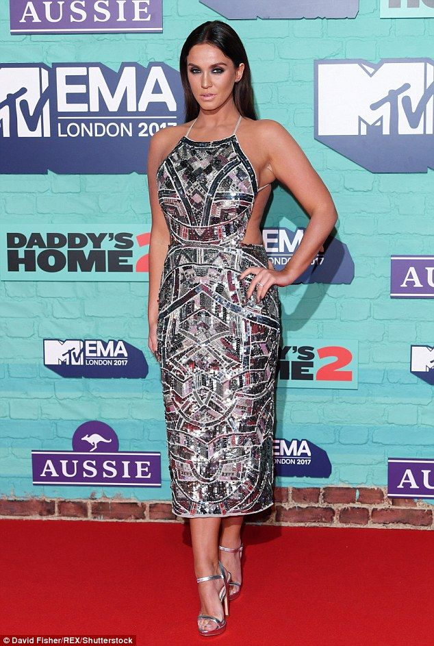 She made the cut! Braless Vicky Pattison showed off her sideboob and curvy figure in slinky dress as she made 'no apologies' for her  figure at MTV EMA awards in London on Sunday