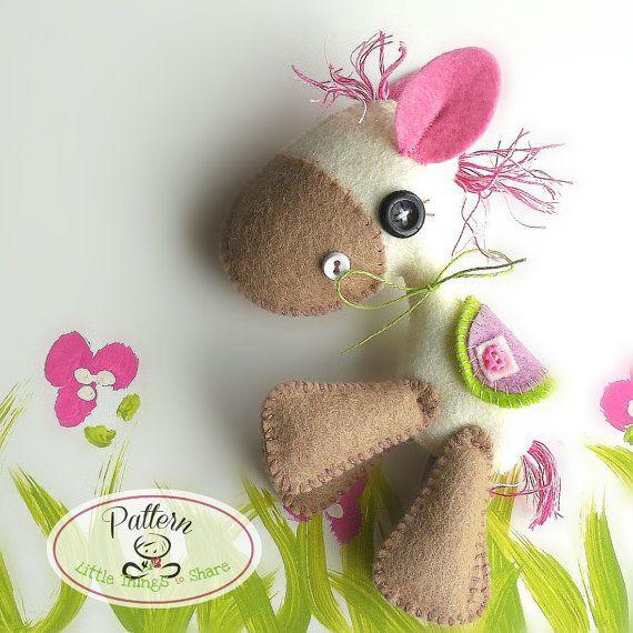 Horsy PDF sewing pattern-DIY-Felt Horse toy pattern-Nursery