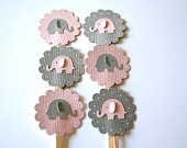 Grey and Pink Elephant Cupcake Toppers Qty 12--Baby Shower--Birthday Party. $5.00, via Etsy.