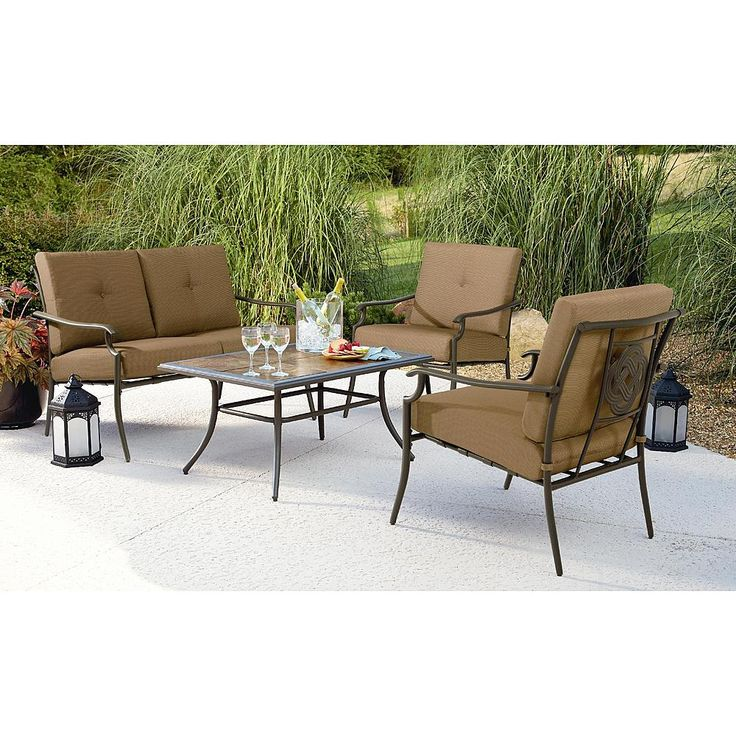 Garden Oasis Emery 4Pc Cushion Seating Set   Outdoor Living   Patio  Furniture   Casual Seating