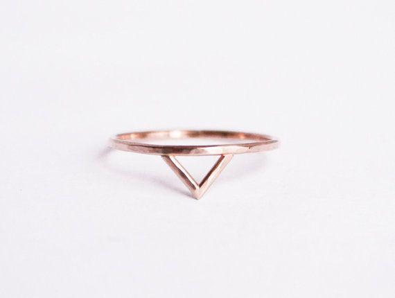 Thin Rose Gold Spike Ring Gold Fill Thin Rose by StefanieSheehan - Beautiful!!