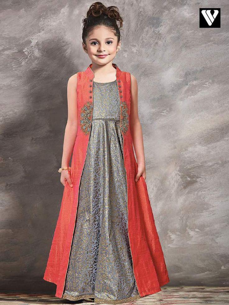Buy Grey Color Fancy Function Wear Indowestern Girls Gown