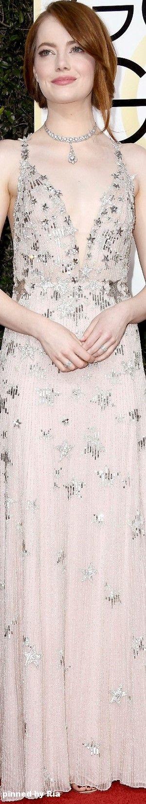 Emma Stone in Valentino l The 2017 Golden Globe Awards l Ria