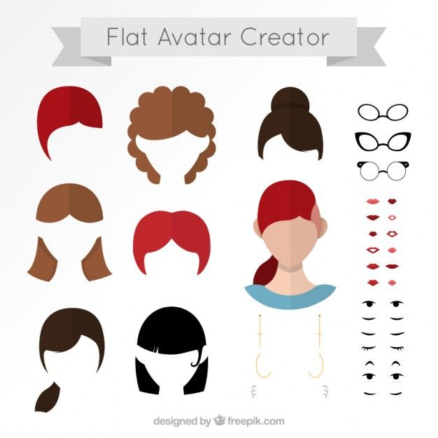 Flat avatar creator Free Vector