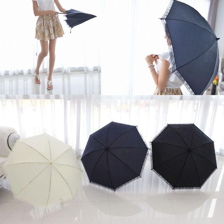 Flower Floral Lace Anti-UV Folding 8 Ribs Parasol Umbrella Sun Rain Protection  #Jacc #CompactFolding