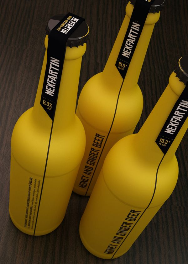 Honey & Ginger Beer Packaging #simple #yellow