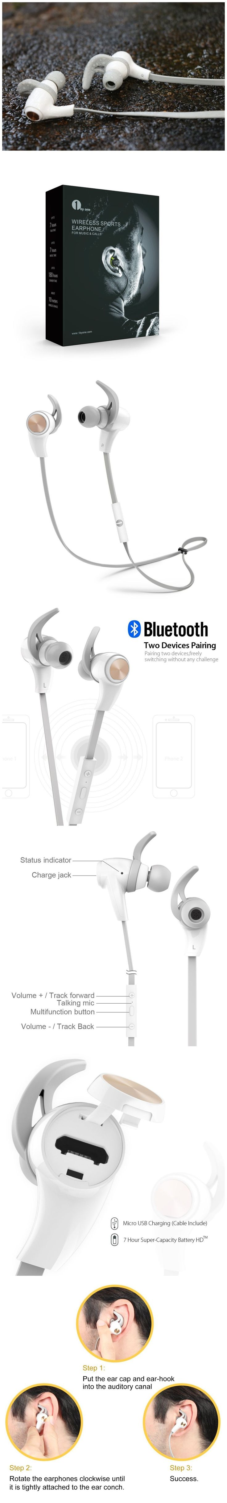 Only $26.96,1byone Bluetooth 4.1 Wireless In-Ear Headphones, Sports Earphones with HD Stereo Sound & Modern, Sweat-Proof and Ergonomic Design, White & Grey