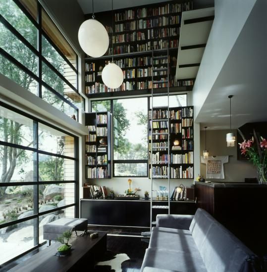 Hughes Kinugawa House, Andrew Lister, Auckland, New Zealand, double height bookcases, Remodelista