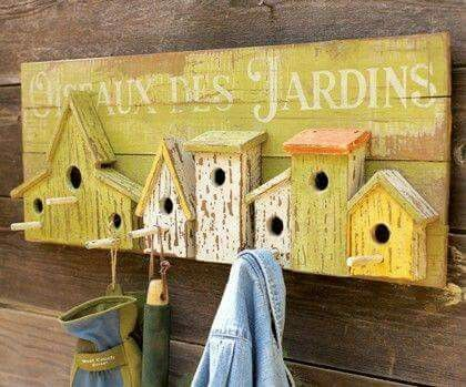 Bird house hooks for garden tools