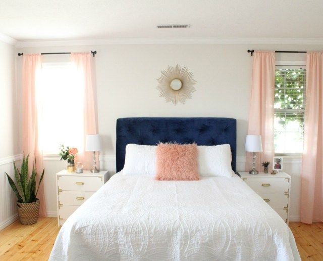 Gorgeous teen bedroom with a DIY tufted headboard. This space is glamorous and sophisticated.