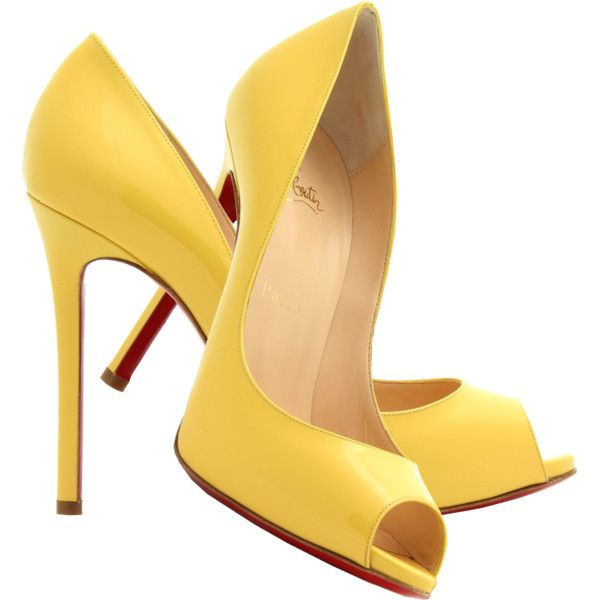 Christian Louboutin banana yellow patent leather peep toe pumps ❤ liked on Polyvore