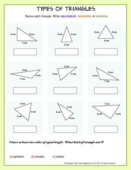 Practice identifying, classifying, or describing the different types of triangles.- equilateral, isosceles, or scalene- right, obtuse, or acuteThese worksheets are a copyrighted material of:https://www.biglearners.com/