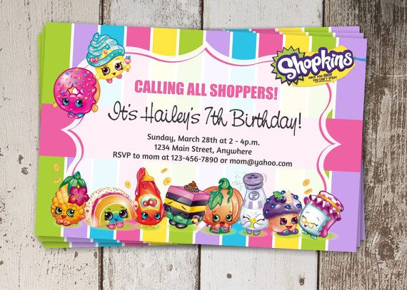 Shopkins Birthday Party Invitation Instant by InstantInvitation
