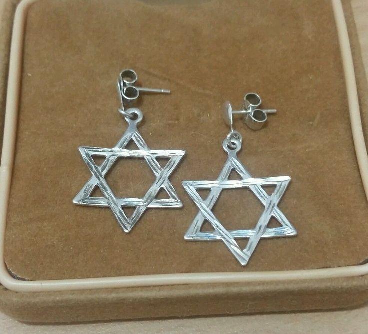 VINTAGE JEWELLERY SOLID SILVER STAR OF DAVID DROP EARRINGS in Jewellery & Watches, Fine Jewellery, Fine Earrings | eBay