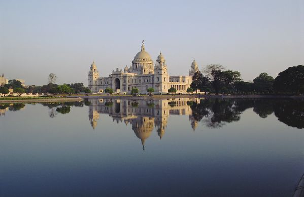 Victoria Memorial established in 1921 by Sir William Emerson and made from white Makrana marbles.