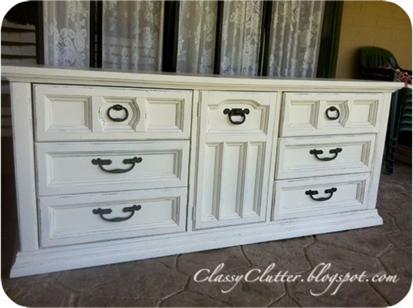creamy white dresser makeover
