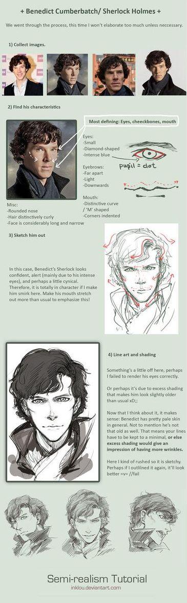 How To Draw Semi-Realism. Looks Like More of Manga/Anime to me. ((Omgosh I can now draw Sherlock Anime! :O))