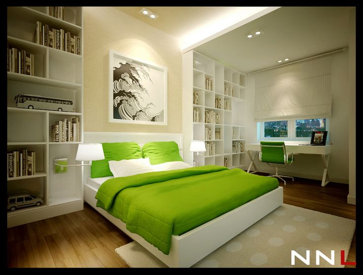 Foxy Images Of Lime Green Bedroom Decoration Design Ideas : Good Looking Image Of Lime Bedroom Decoration Using White LED Lamp In Bedroom Including Plain Lime Green Bed Sheet And Modern White King Bed Frame