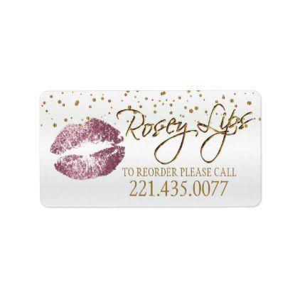#Golden Confetti & Pink Rose Lips - Reorder Label - #glitter #makeup #artist #cards #stylists #custom