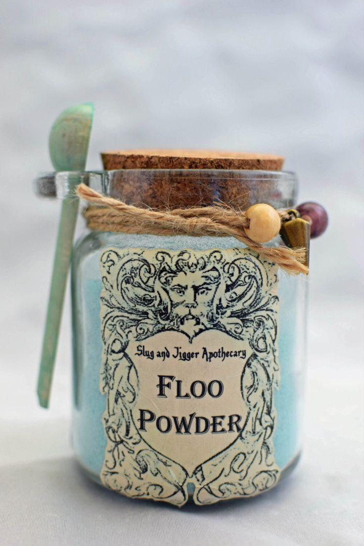 FLOO POWDER!  Decorative Harry Potter Glass Jar of Magical Powder. by GrimSweetness on Etsy https://www.etsy.com/listing/232472871/floo-powder-decorative-harry-potter