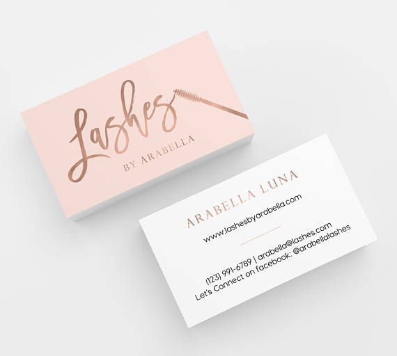 Pink & Rose Gold Lashes Printed Business Cards - business cards,business card design,custom business