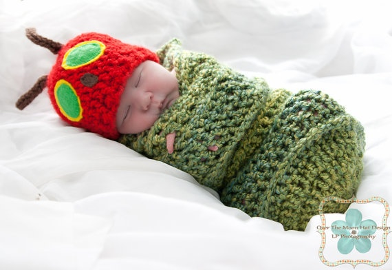 The very Hungry Caterpillar Hat and CocoonIdeas, The Hungry Caterpillar, Crochet, Caterpillar Hats, Future Baby, Baby Pictures, Kids, Baby Outfit, Eric Carl