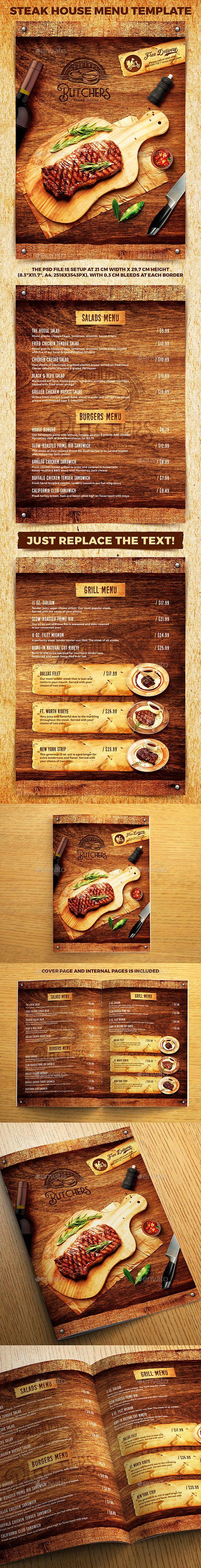 Steak House Menu Template - Food Menus Print Templates