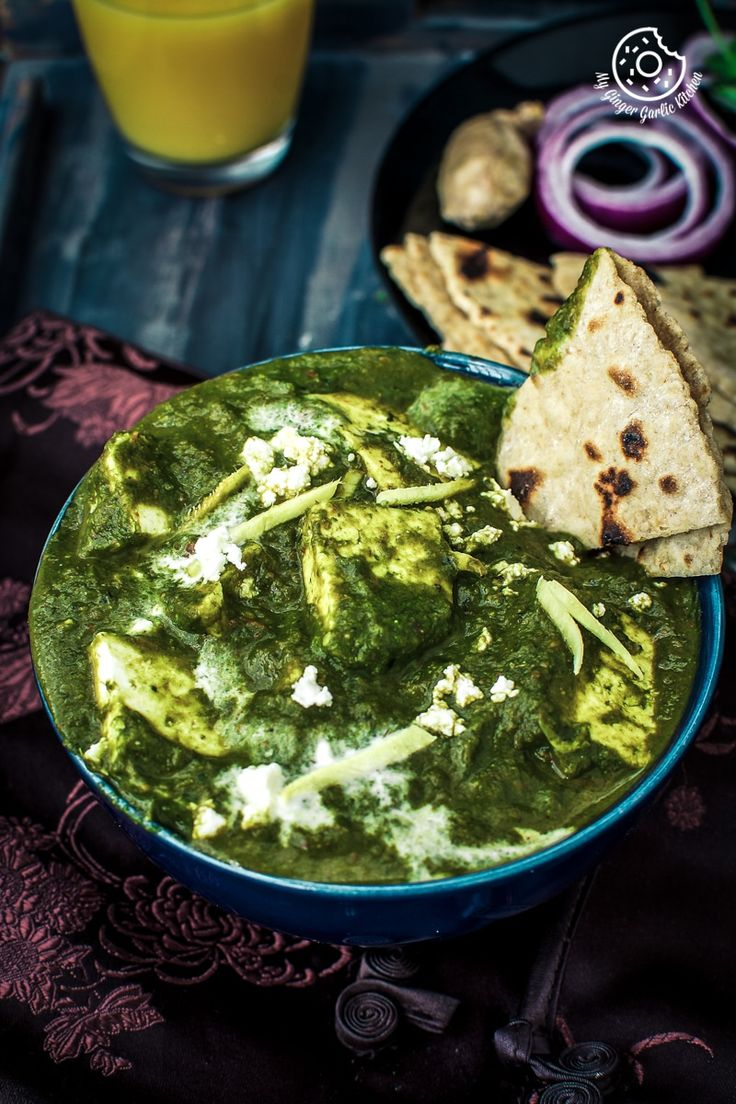 Palak Paneer | Spinach Indian Cottage Cheese Gravy. Palak paneer is one of the most popular and scrumptious North Indian curries. In this recipe, Paneer cubes are cooked in silky smooth spicy spinach puree. This palak paneer curry is so perfect for an easy weekend or weeknight dinner. From: mygingergarlickitchen.com/ #curry #glutenfree #vegetarian #spinach #Palak #Northindianfood #Healthy