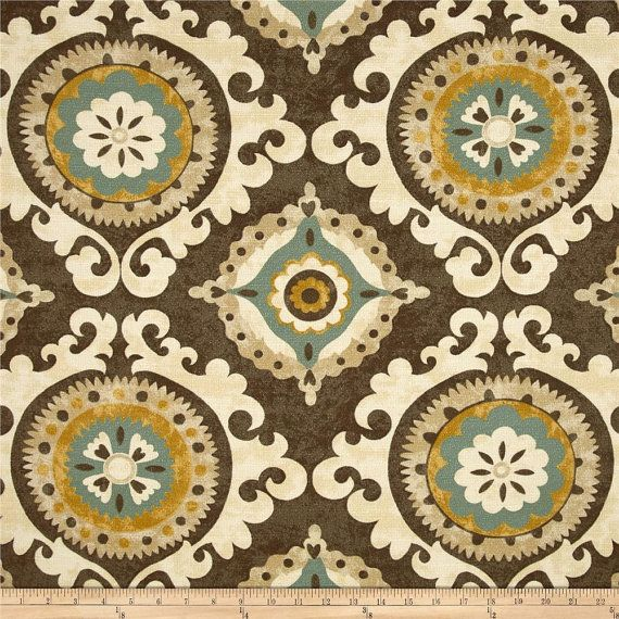 Brown, Yellow, Teal, Tan And Ivory Ikat Curtain Panels