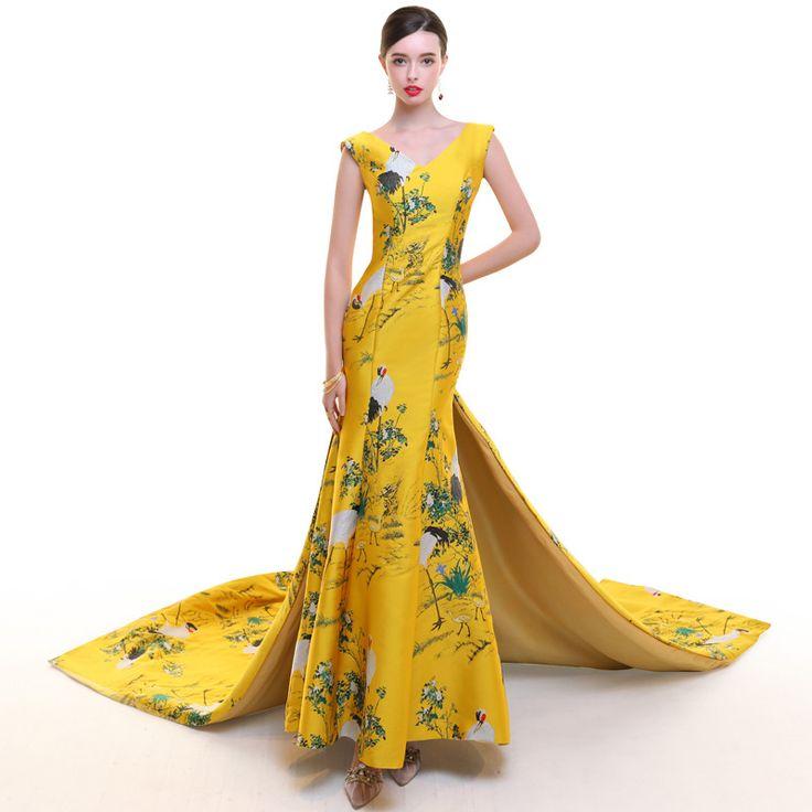 Asian inspired V-neck sleeveless golden yellow satin trailing dress – Modern Qipao