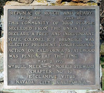 """#TodayInCAHistory: On July 4, 1850, the Republic of Rough  Ready ended when nearby Nevada City saloon owners refused to sell liquor to """"foreigners"""" on the 4th of July holiday.  Earlier on April 7, the town seceded from the Union, declaring itself a republic named after President Zachary Taylor, whose battlefield moniker was """"Old Rough  Ready."""" Miners living in the area were opposed to the idea of California becoming a Union state and objected a government-imposed a tax on mining claims."""