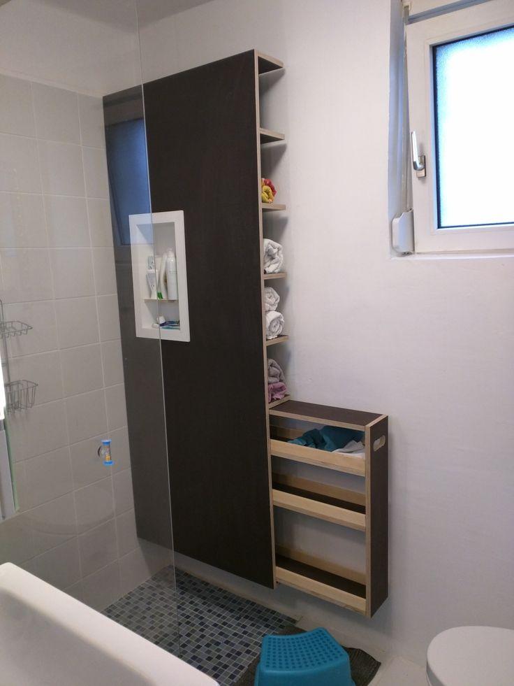badm bel mit shampoohalter handtuchregal und schublade siebdruckplatten f r feuchtraum. Black Bedroom Furniture Sets. Home Design Ideas
