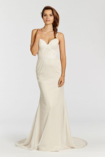 Point d'esprit trumpet gown with lace accents by Ti Adora by Alvina Valenta, $990   BridalGuide