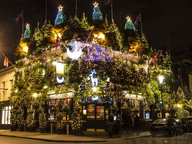 Possibly the best Xmas decorations in London: The Churchill Arms, Notting Hill...