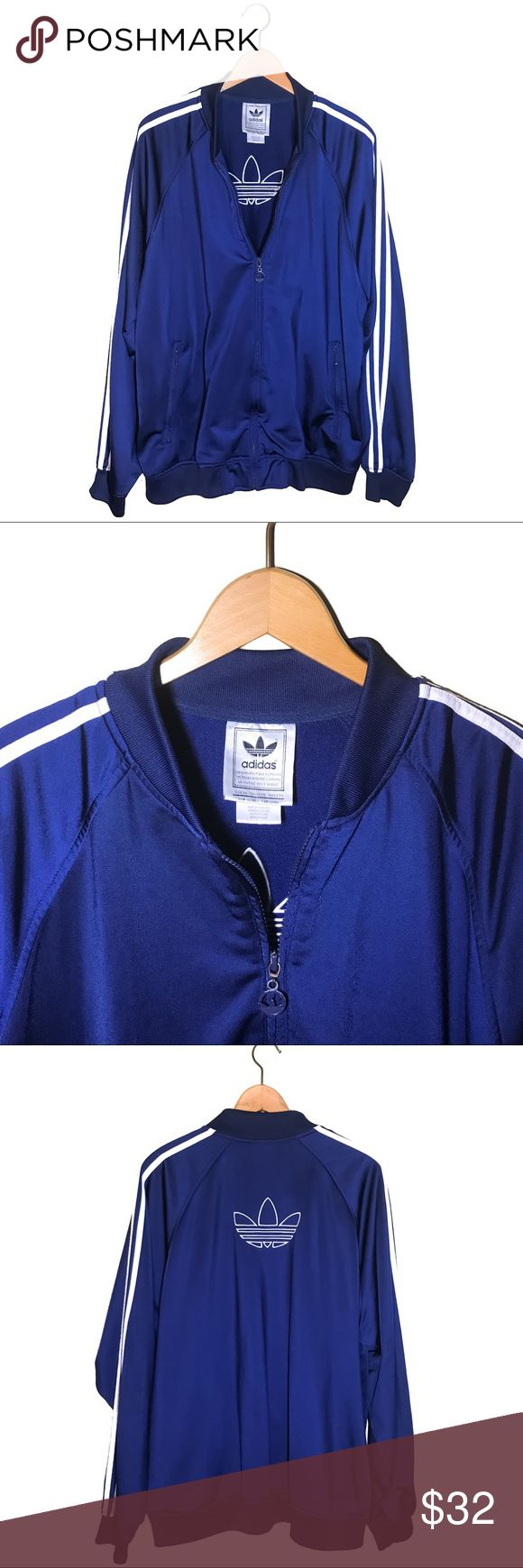 adidas Track Jacket Vintage Trefoil Size XL Vintage Retro Adidas Track Jacket NWOT. Full zip up Striped Trefoil blue and white Athletic running windbreaker jacket. Superb condition! Very nice 80's style jacket. Polyester, Size XL. You're next favorite jacket for all occasions! If you have any questions please comment!                                                                         Adidas . Originals . Nike . Retro . Lululemon . New Balance . Urban Outfitters . Forever 21 . H&M adidas…