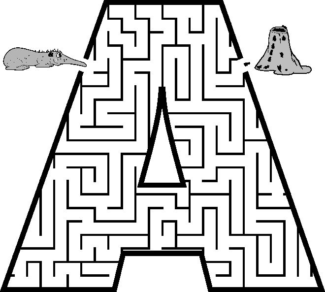 Free Printable Maze of the letter A