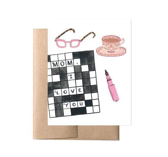 Mom Crossword Mother S Day Card Card For Mother Mom Etsy In 2021 Birthday Cards For Mother Mom Cards Gifts For Bookworms