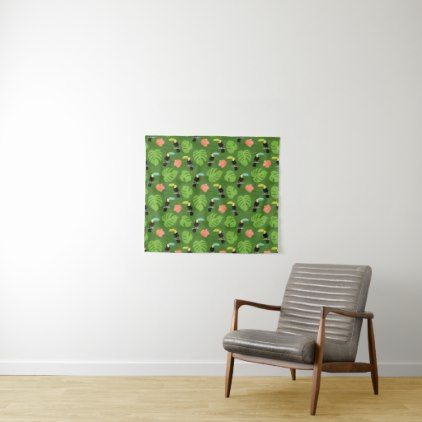 Tropical Toucan With Hibiscus Leaves Tapestry - floral style flower flowers stylish diy personalize