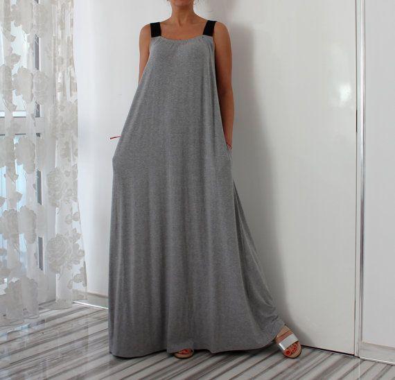 Gray Sleeveless Maxi Dress with Pockets by cherryblossomsdress