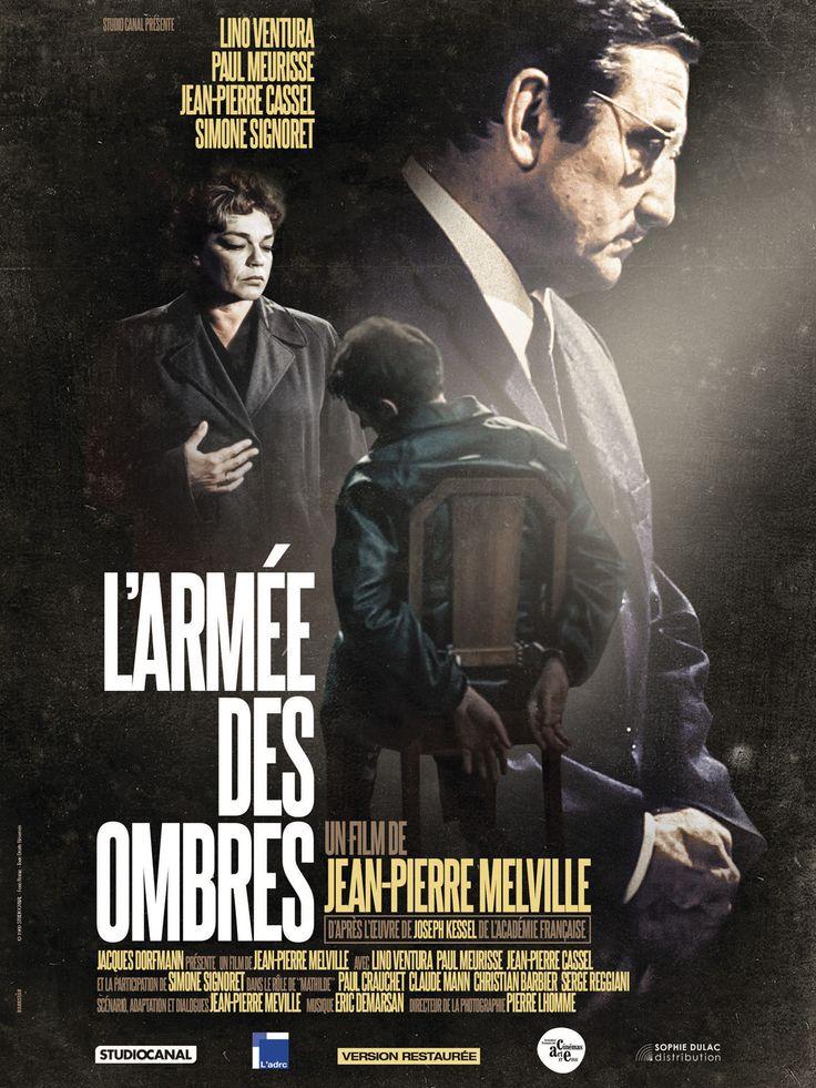 L'Armée des Ombres est un film de Jean-Pierre Melville avec Lino Ventura, Simone Signoret. Synopsis : France 1942. Gerbier, ingénieur des Ponts et Chaussées est également l'un des chefs de la Résistance. Dénoncé et capturé, il est incarcéré dans un cam