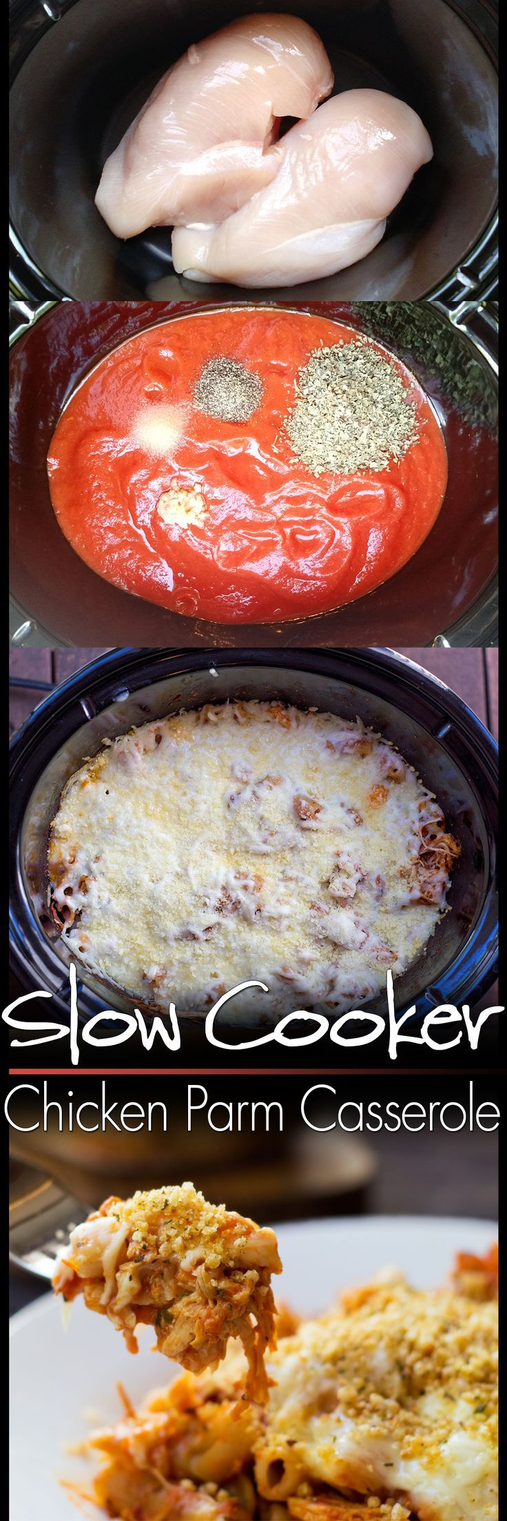 MY whole family LOVED this Slow Cooker Chicken Parmesan Casserole. And so easy to make!