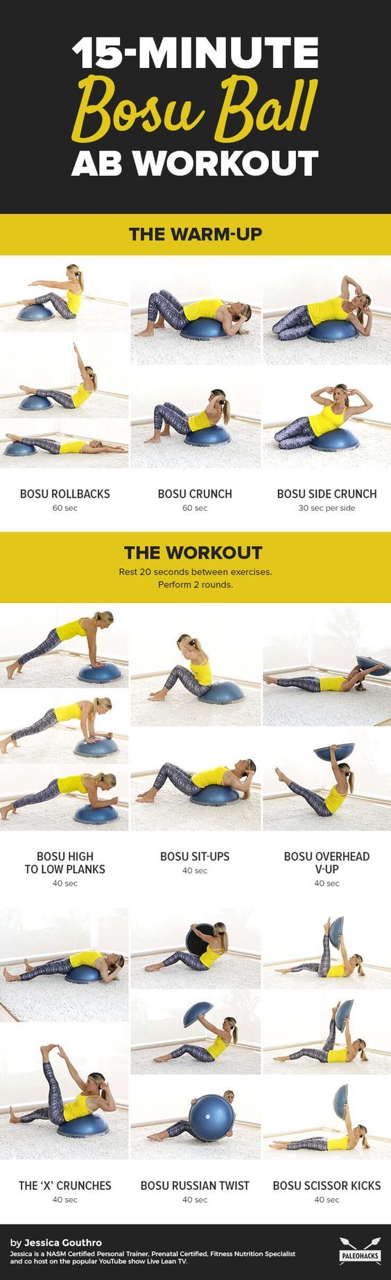This bosu ball ab workout tightens and tones your abs from every angle. Do this workout anywhere-from the gym or the comfort of your home! Get the full workout here: http://paleo.co/bosuballworkout