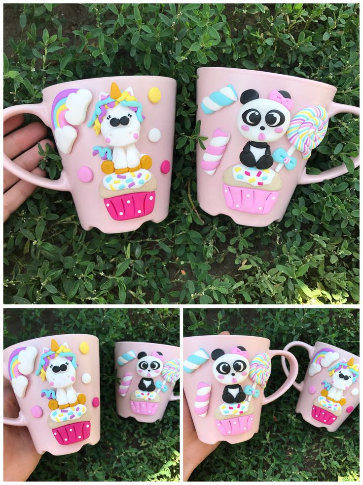 Panda unicorn horse pony bear pink girly cute candy lollipop muffin cupcake polymer clay handmade homemade