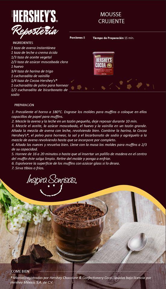 ¿Qué te parece esta deliciosa receta preparada con Cocoa Hershey's®? #Hersheys #Chocolate #InspiraSonrisas #Repostería #Postres #Receta #DIY #Bakery #Mousse